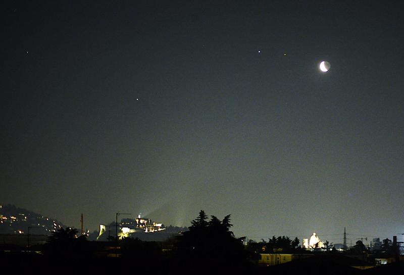 Saturno, Giove, Marte e la Luna sopra la città